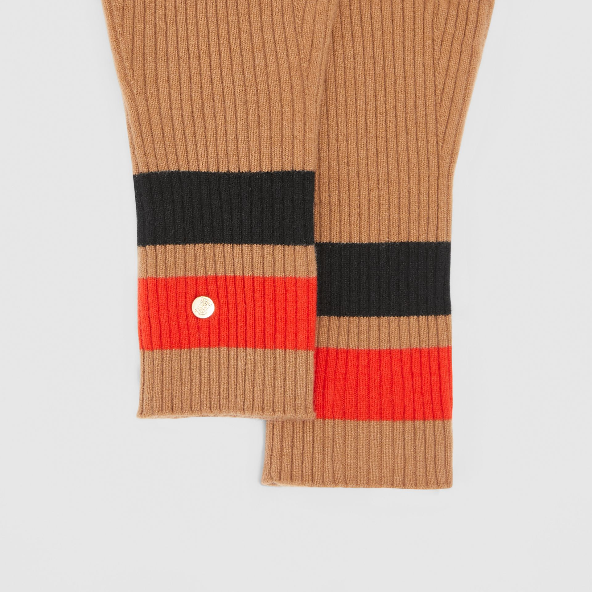 Monogram Motif Merino Wool Cashmere Gloves in Warm Camel | Burberry - gallery image 1