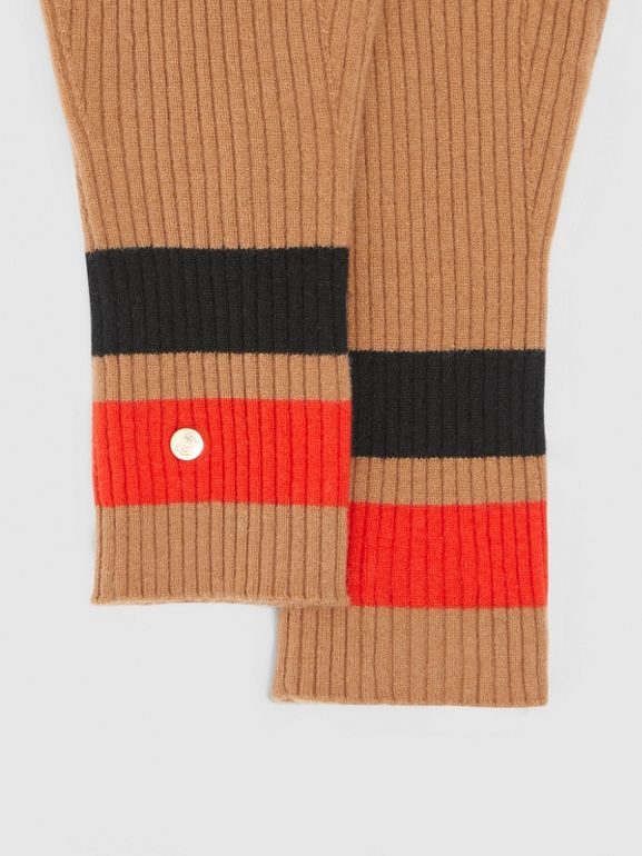 Monogram Motif Merino Wool Cashmere Gloves in Warm Camel | Burberry - cell image 1
