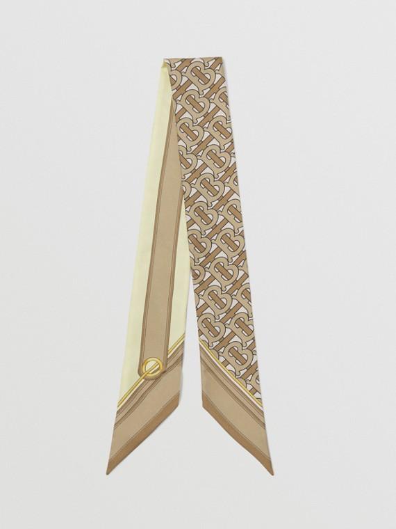 Sciarpa sottile in seta con monogramma e logo stampato (Beige Archivio)