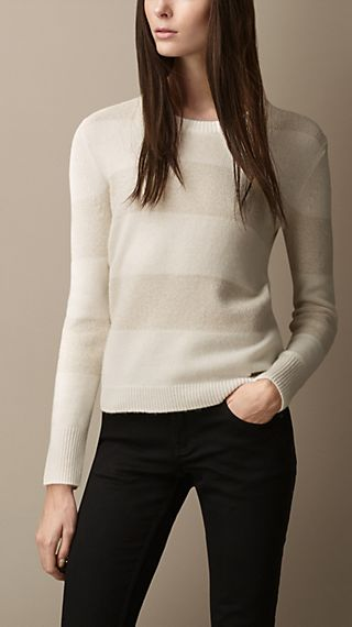 Lurex Stitch Striped Cashmere Sweater