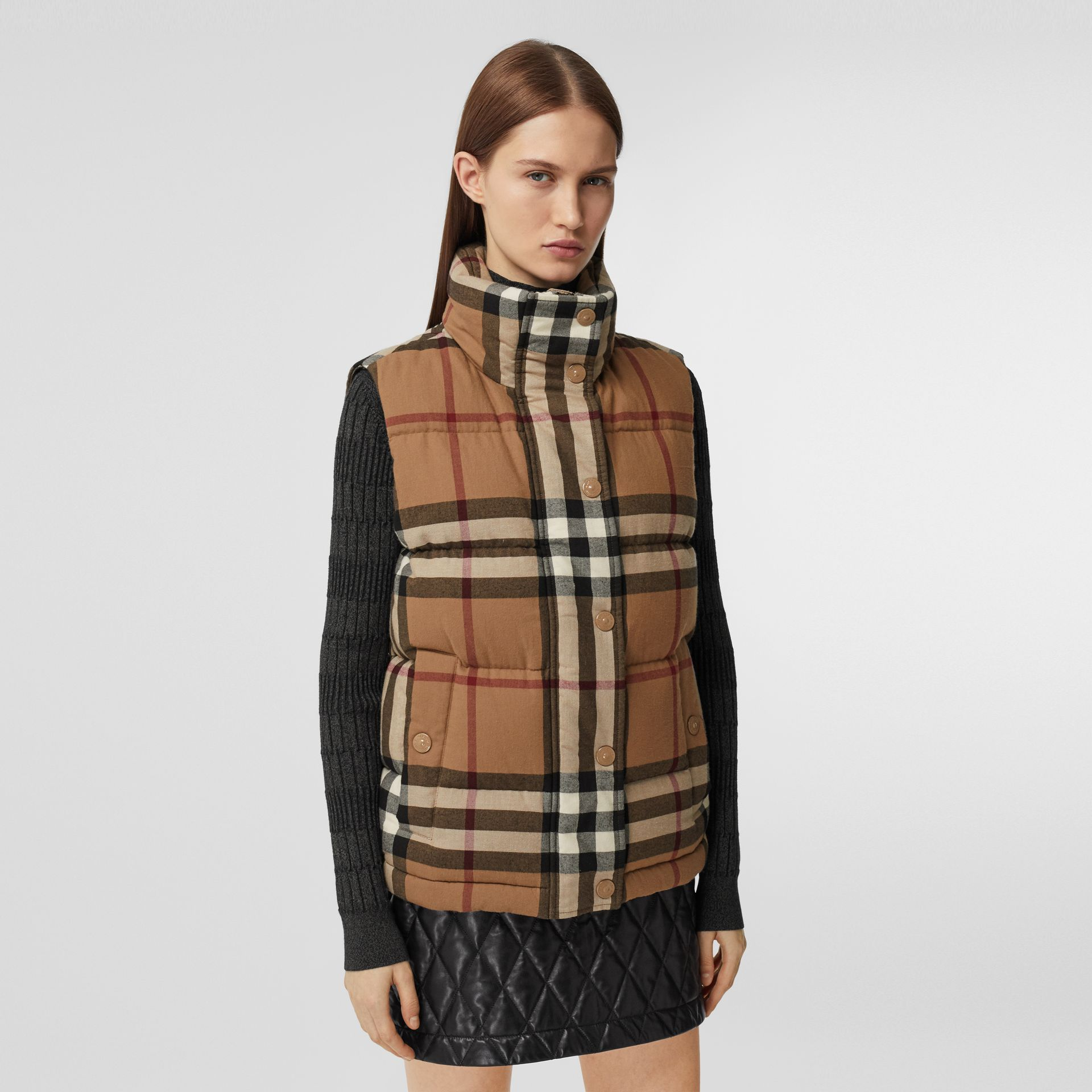 Check Cotton Flannel Puffer Gilet in Birch Brown - Women | Burberry - gallery image 5