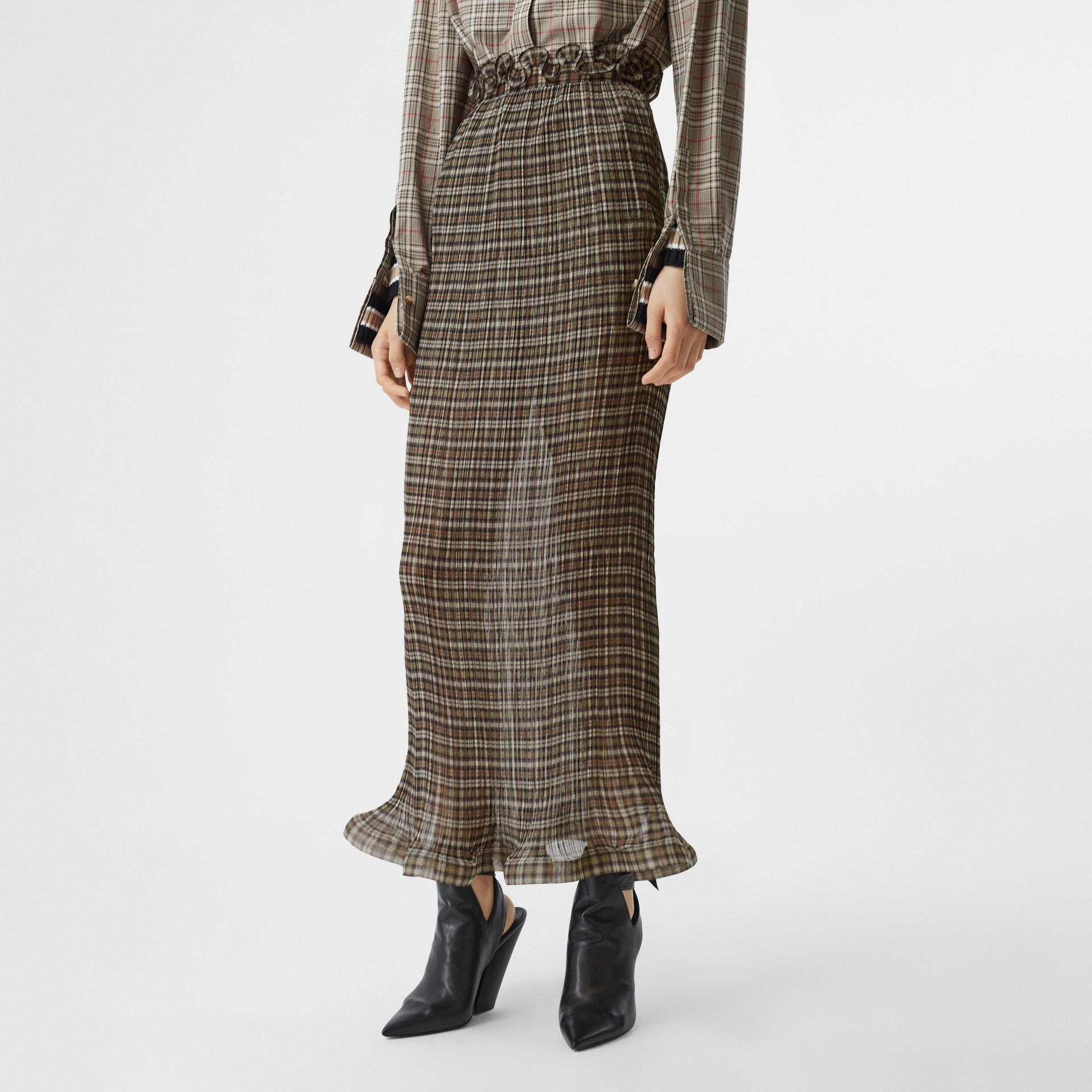 Custom Fit Ruffle Detail Check Chiffon Plissé Skirt in Mahogany - Women | Burberry - gallery image 4