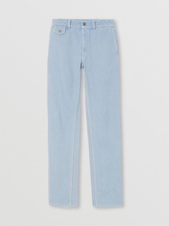 Jeans dal taglio dritto in denim lavato (Indaco Chiaro)