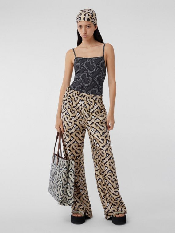 Monogram Print Silk Twill Wide-leg Trousers in Multicolour