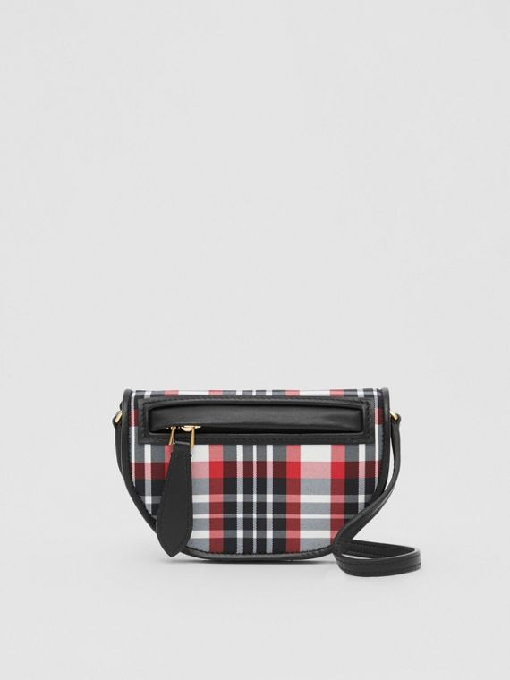 Tartan Nylon Olympia Card Case with Detachable Strap in Bright Red