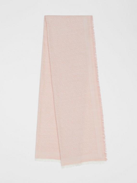 Schal aus Wolle und Seide mit Jacquard-gewebtem Monogrammmuster (Alabasterrosa)