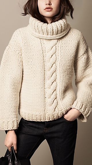 Alpaca Wool Cable Knit Roll Neck Sweater