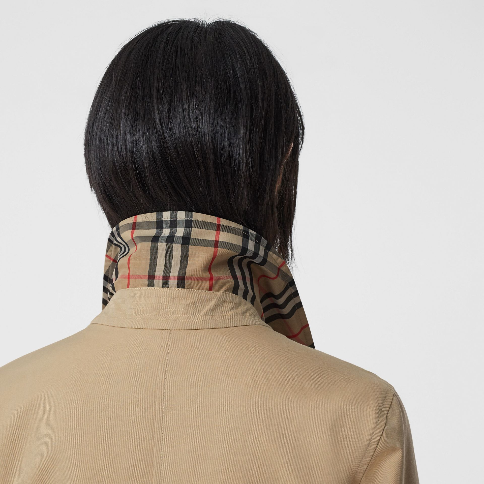 Reversible Cotton and Vintage Check Car Coat in Honey - Women | Burberry - gallery image 4