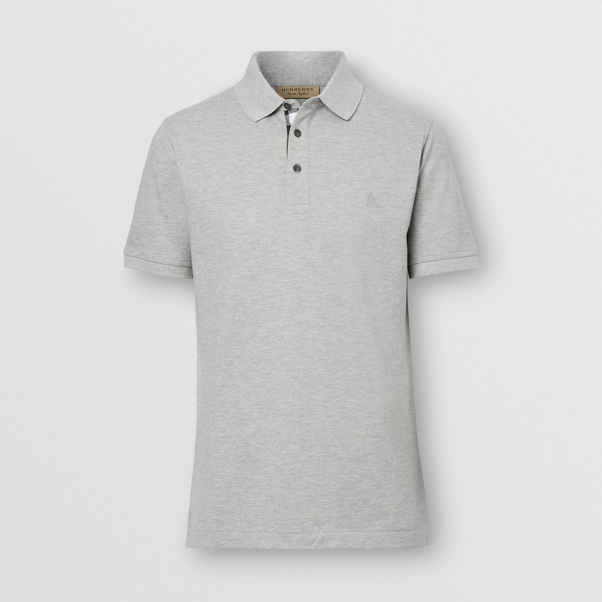 Check Placket Cotton Piqué Polo Shirt in Pale Grey Melange - Men | Burberry Hong Kong S.A.R. - gallery image 0
