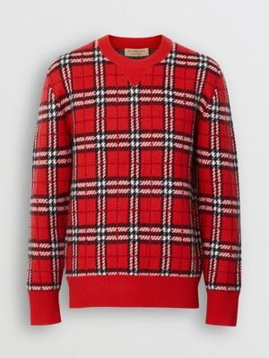 格纹羊绒提花针织衫