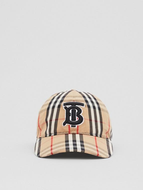 Boné de beisebol de algodão com estampa Vintage Check e monograma (Bege Clássico)