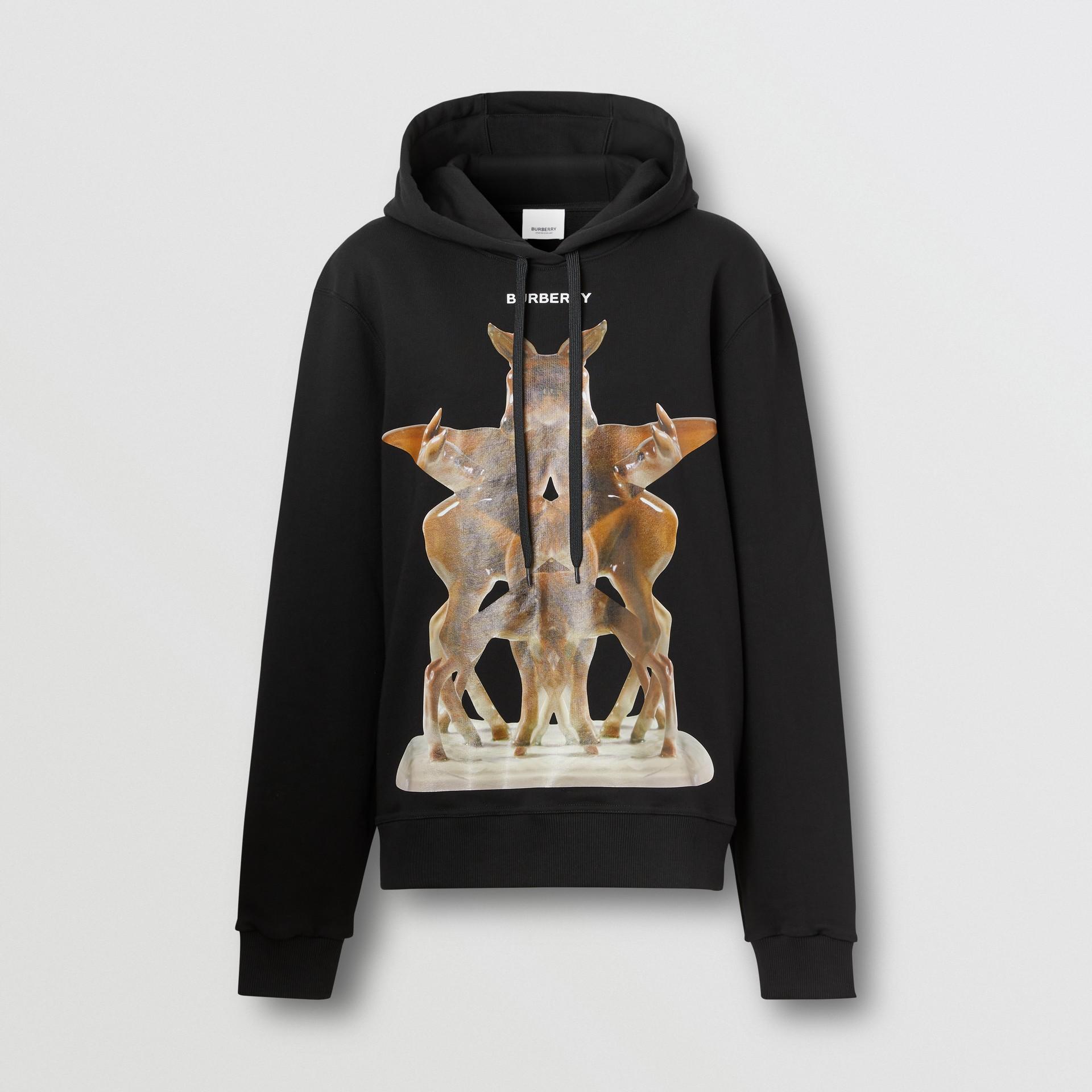 Sweat-shirt à capuche oversize avec imprimé kaléidoscope – Exclusivité en ligne (Noir) - Femme | Burberry - photo de la galerie 3