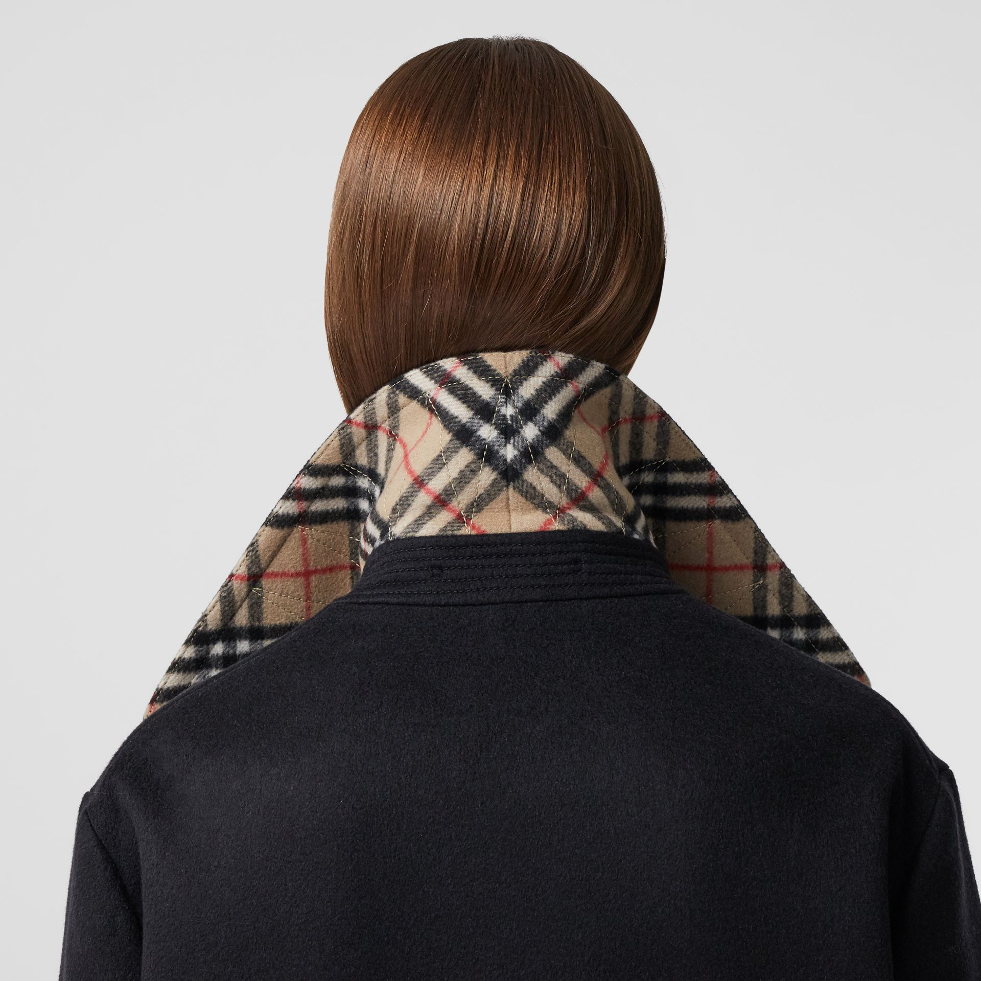 Pocket Detail Cashmere Pea Coat in Navy - Women | Burberry - gallery image 4