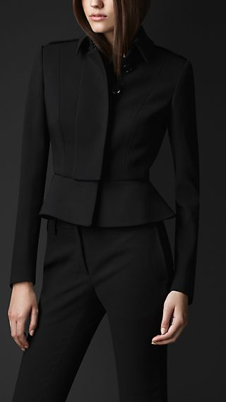 Wool Peplum Waist Jacket