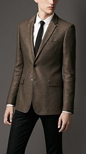 Slim Fit Silk Linen Pinstripe Jacket