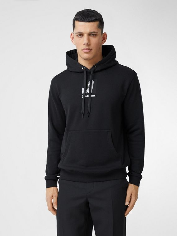 Montage Print Cotton Hoodie in Black