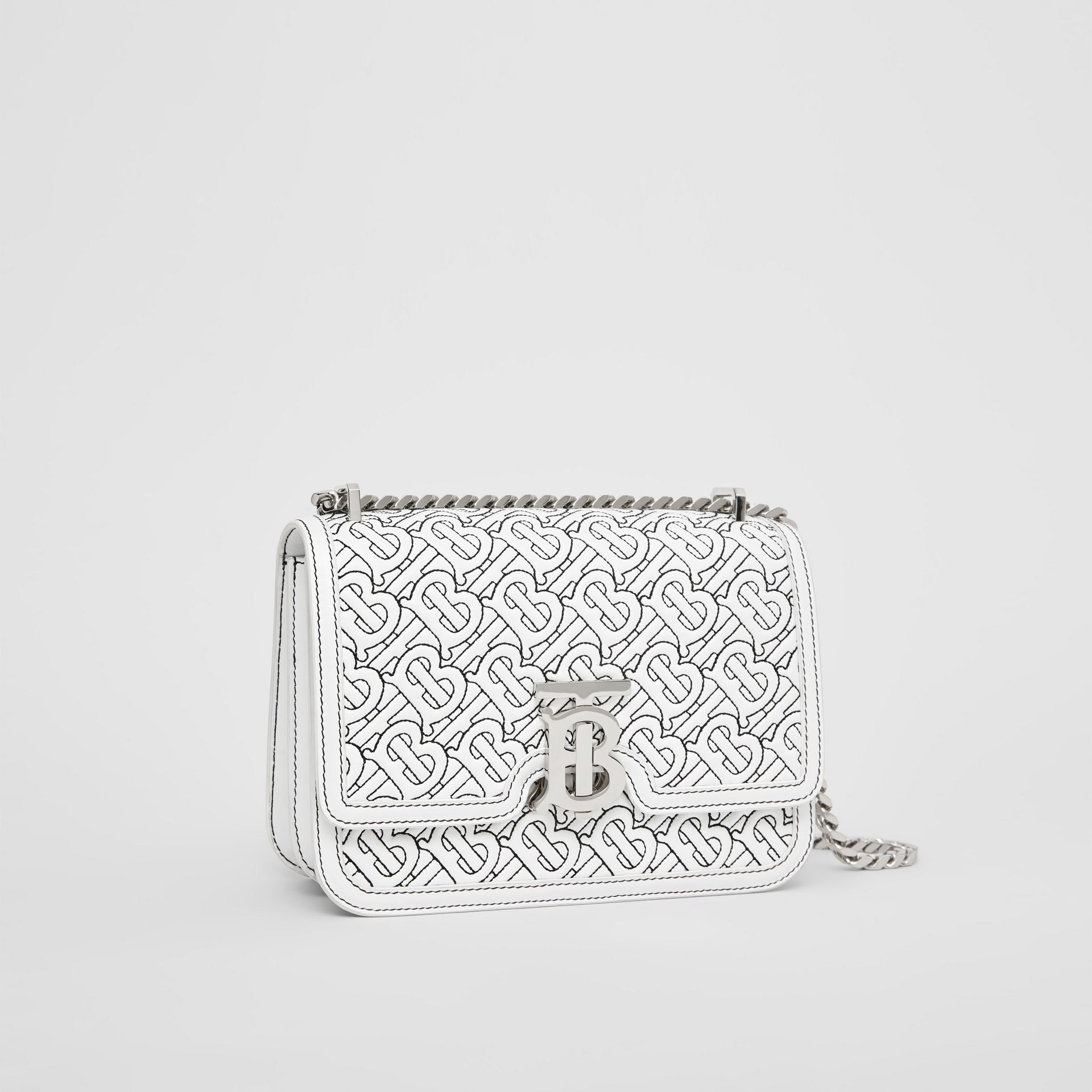 Small Quilted Monogram Lambskin TB Bag in Optic White - Women | Burberry - gallery image 6