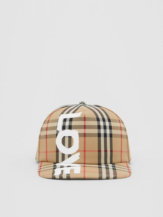 Love Print Vintage Check Baseball Cap in Archive Beige