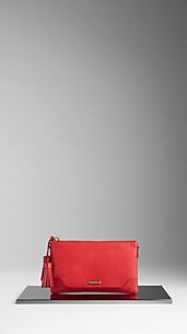 London-Leder-Clutch mit Troddel
