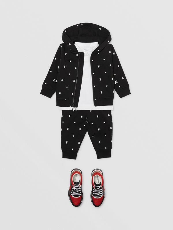 Star and Monogram Motif Cotton Jogging Pants in Black - Children | Burberry - cell image 3