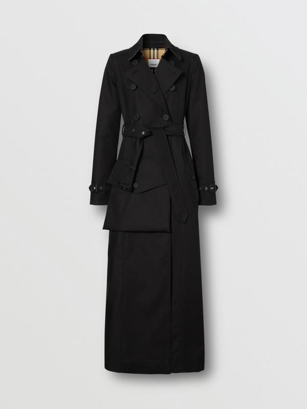 Trench coat de gabardine de algodão com detalhe de bolso (Preto) - Mulheres | Burberry - cell image 3