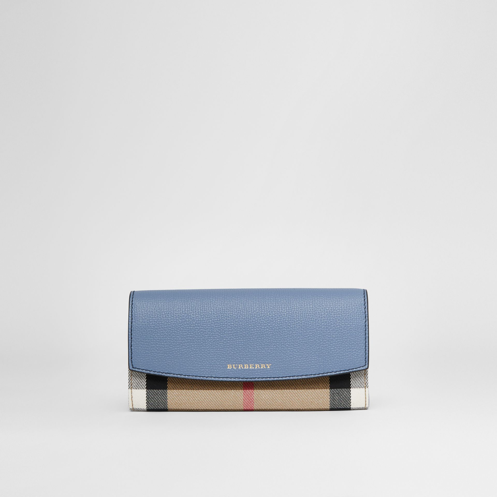 House Check and Leather Continental Wallet in Slate Blue - Women | Burberry - gallery image 0