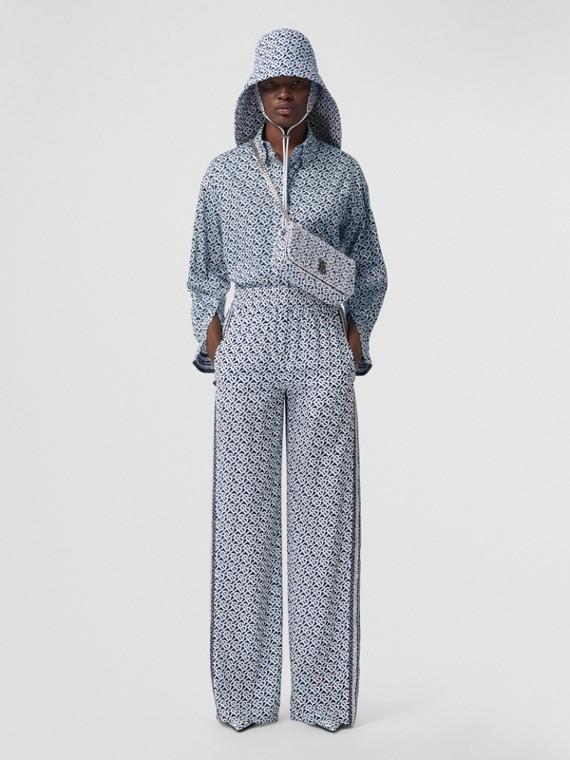 Camicia oversize in cotone con stampa monogramma (Blu Cobalto)