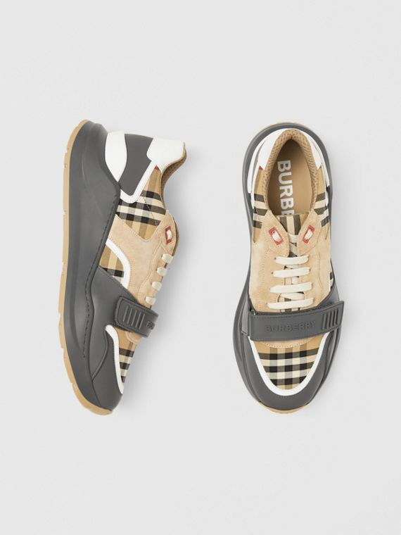 Vintage Check, Suede and Leather Sneakers in Grey/archive Beige