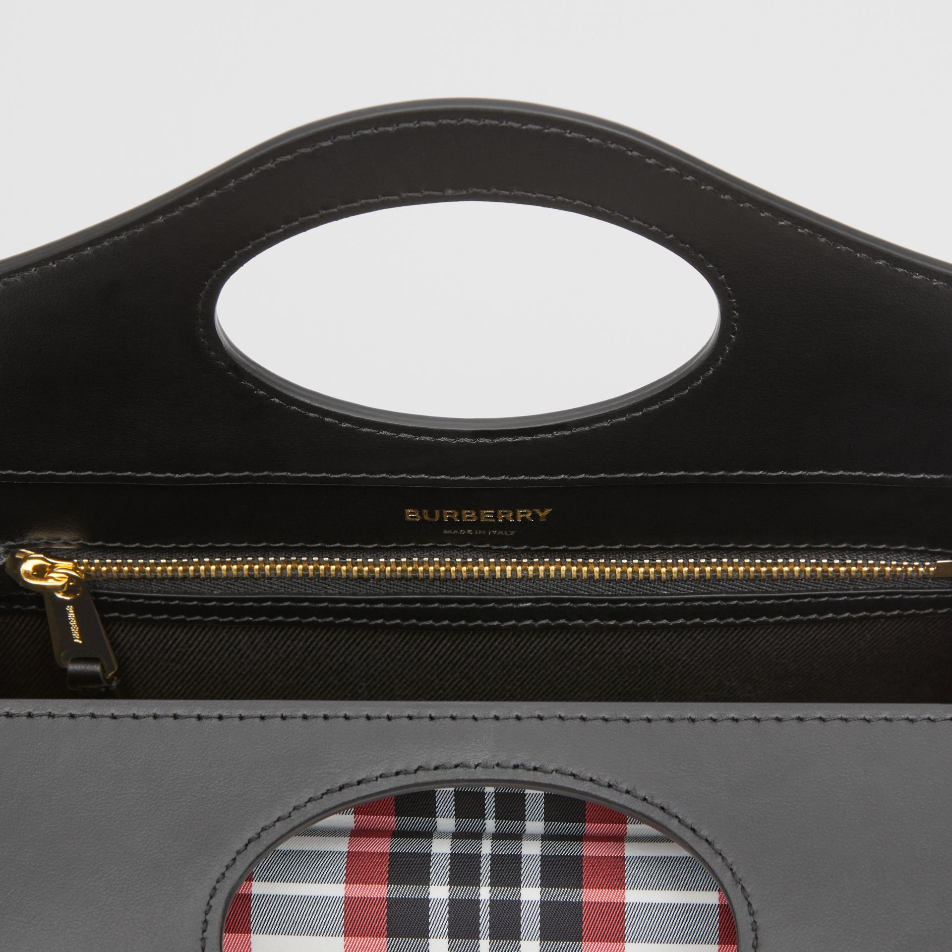 Mini Tartan Nylon and Leather Pocket Bag in Bright Red - Women | Burberry - gallery image 8