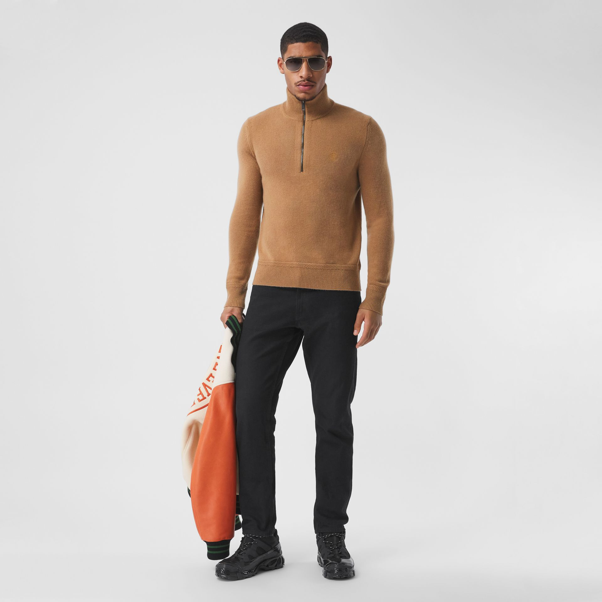 Monogram Motif Cashmere Funnel Neck Sweater in Camel - Men | Burberry - gallery image 5