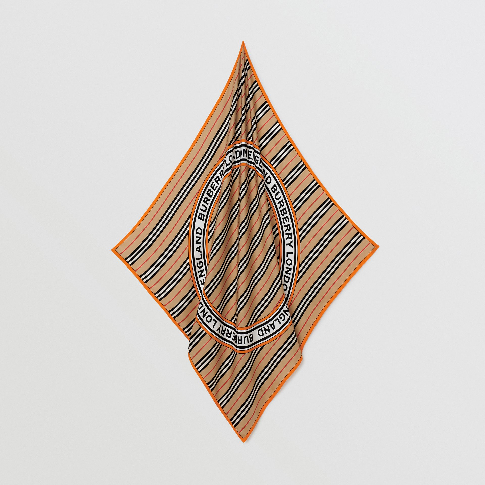 Icon Stripe and Logo Graphic Silk Square Scarf in Archive Beige | Burberry United Kingdom - gallery image 2