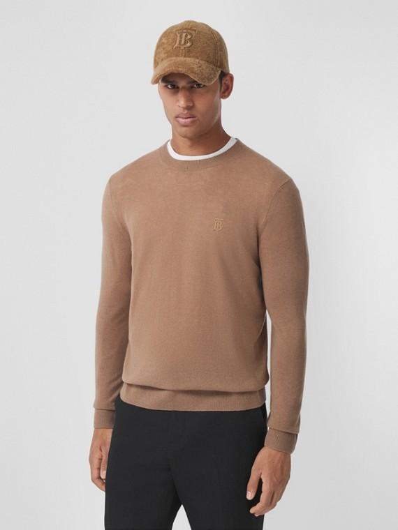 Pullover in cashmere con motivo monogramma (Cammello)