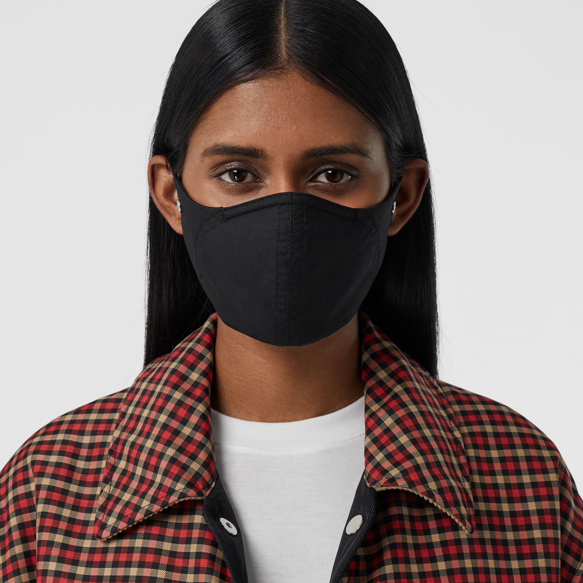 Logo Detail Cotton Face Mask in Black | Burberry United States - gallery image 2