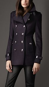 Trench-coat court en laine et cachemire