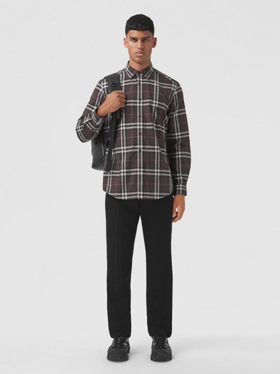 Check Cotton Poplin Shirt in Deep Maroon