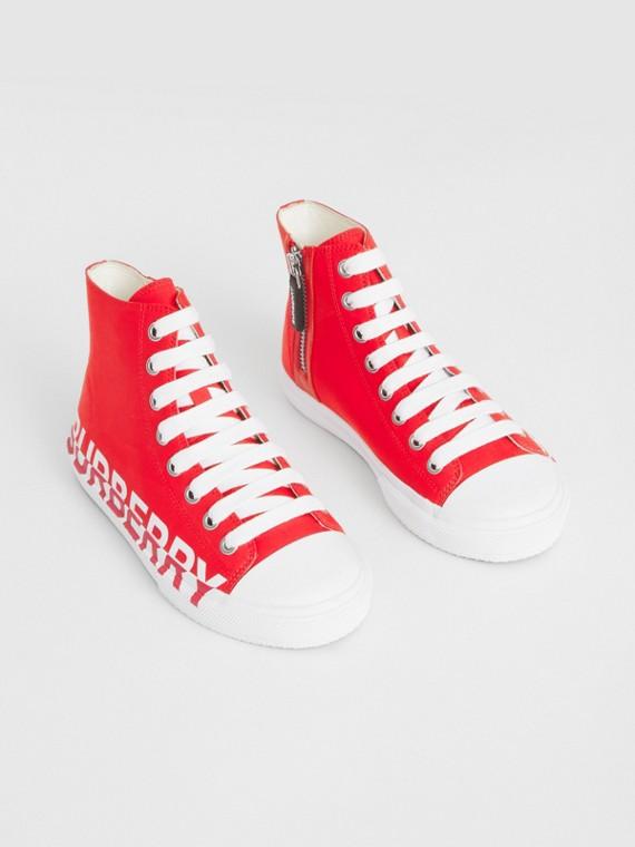 Sneakers montantes en gabardine de coton avec logo (Rouge Vif)