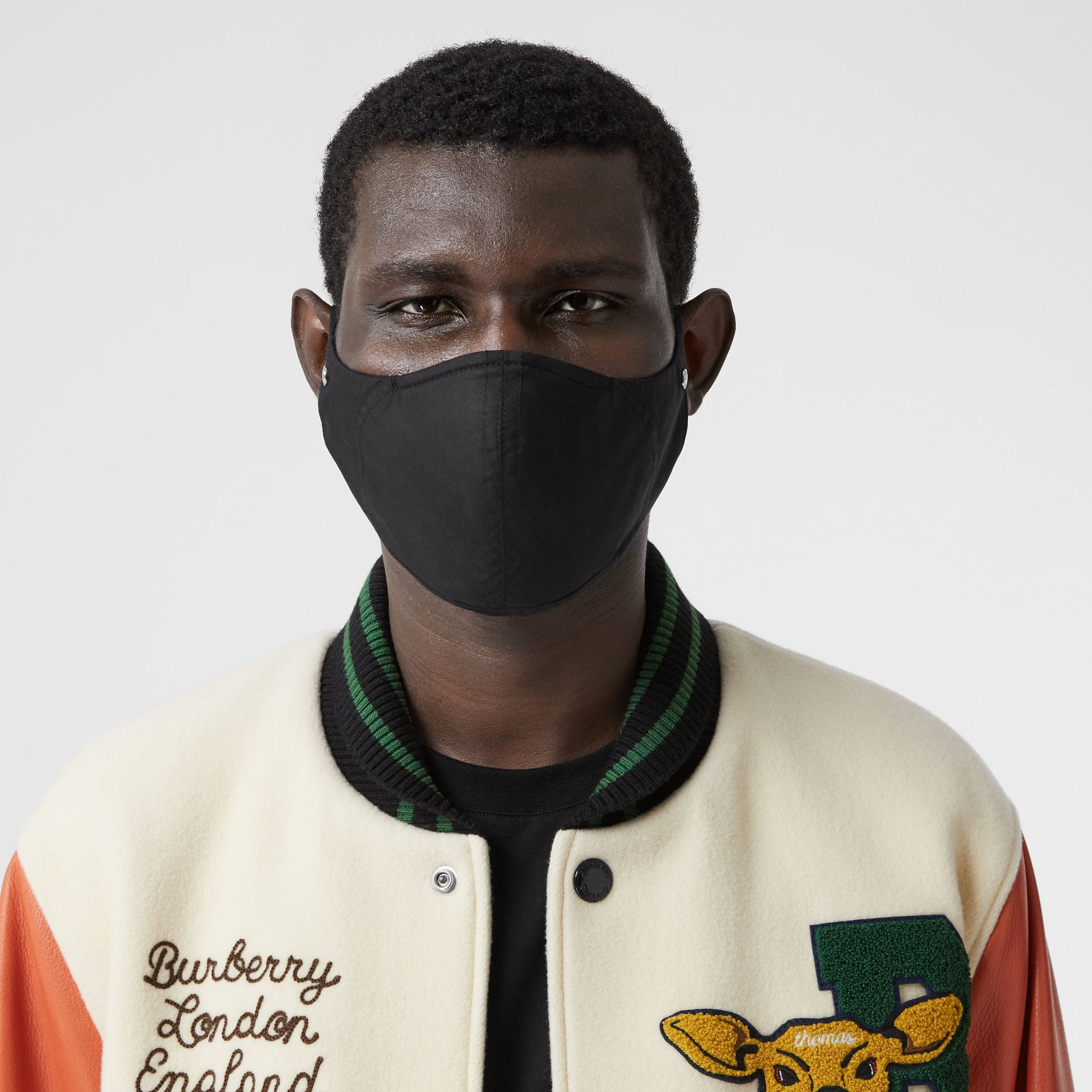 Logo Detail Cotton Face Mask in Black | Burberry United States - gallery image 3