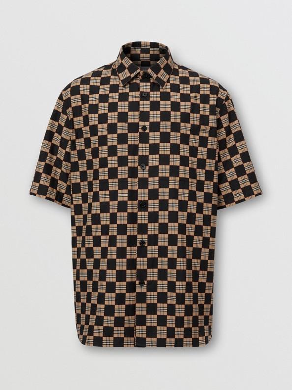 Short-sleeve Chequer Print Cotton Shirt