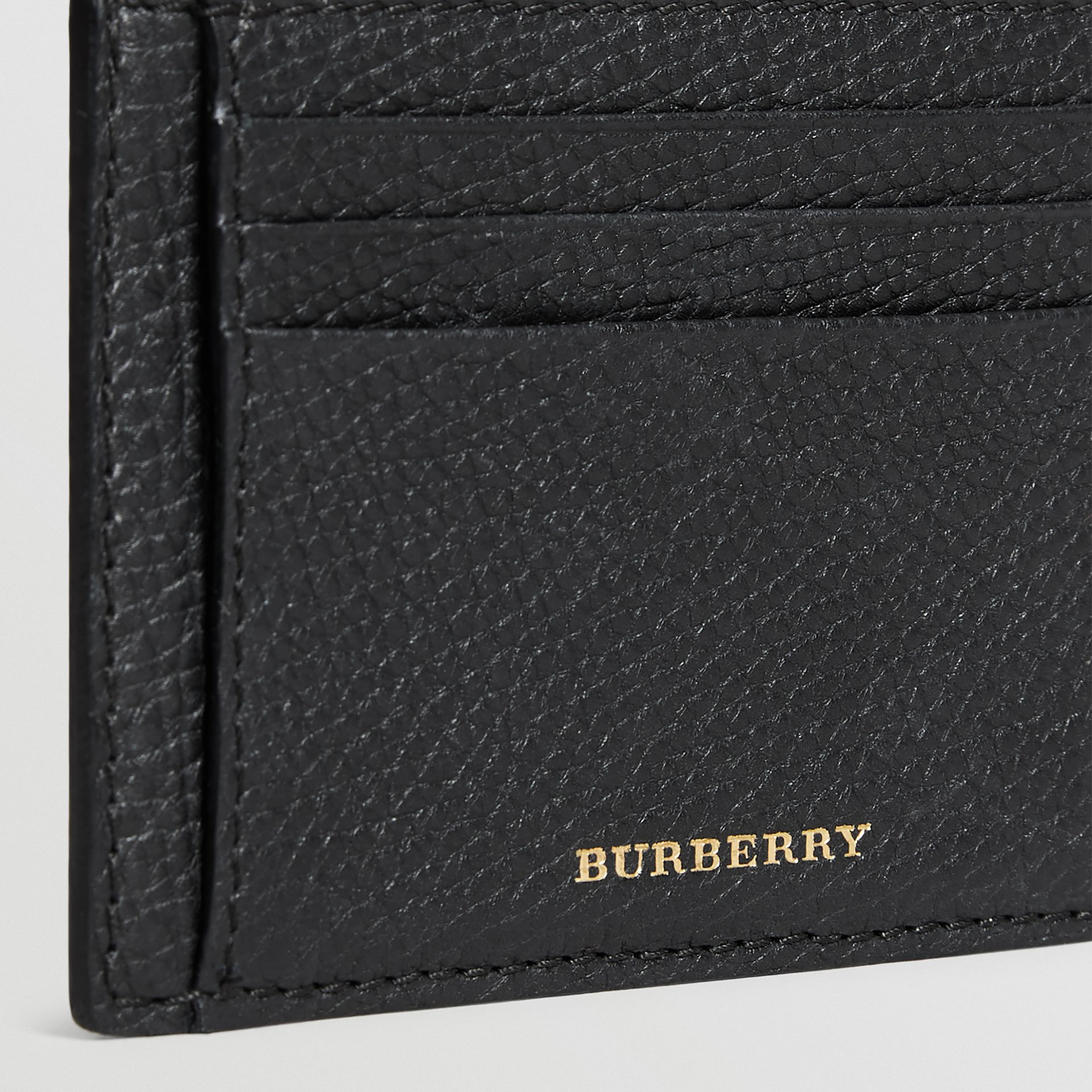House Check and Leather Money Clip Card Case in Black - Men | Burberry - gallery image 4