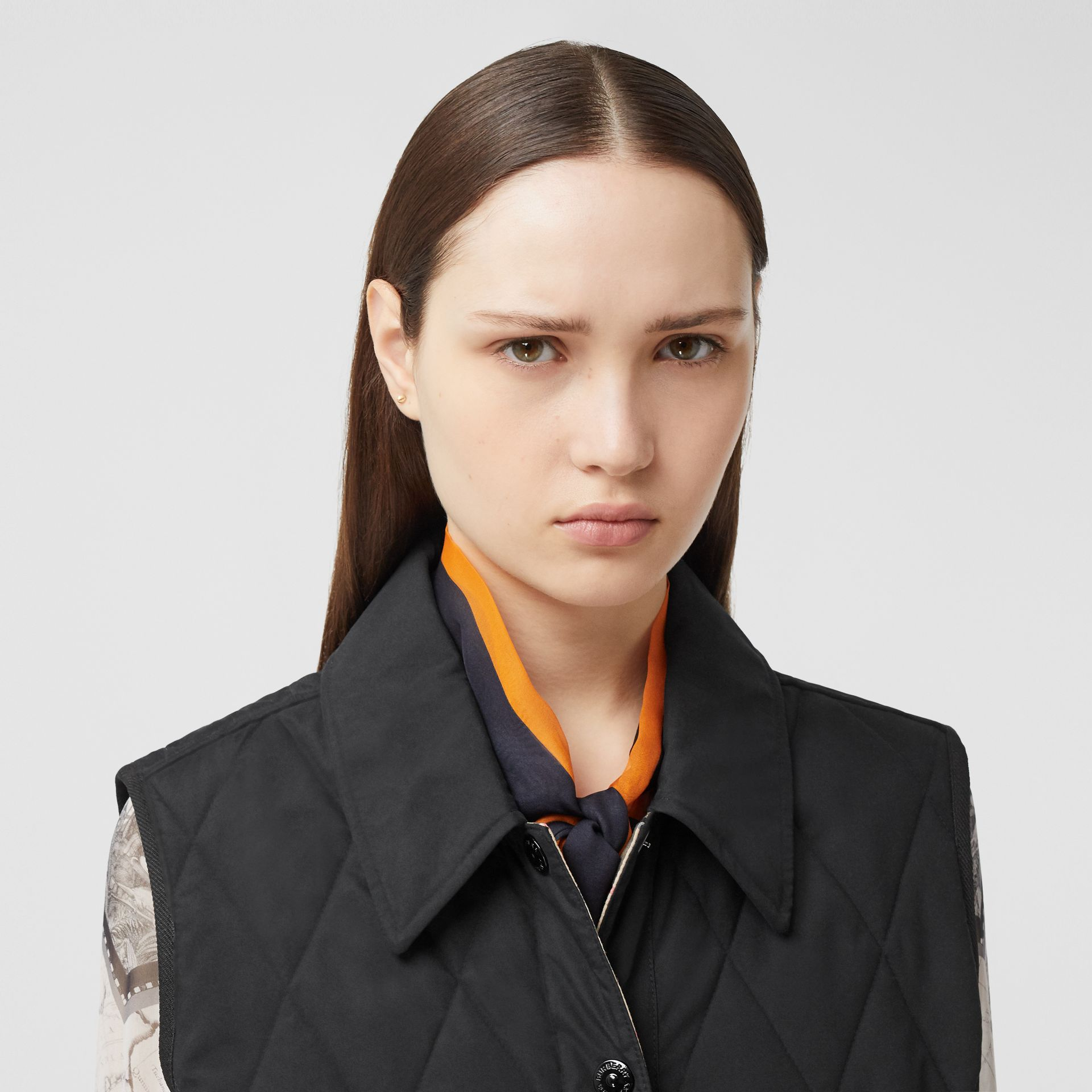 Diamond Quilted Gilet in Black   Burberry United Kingdom - gallery image 1