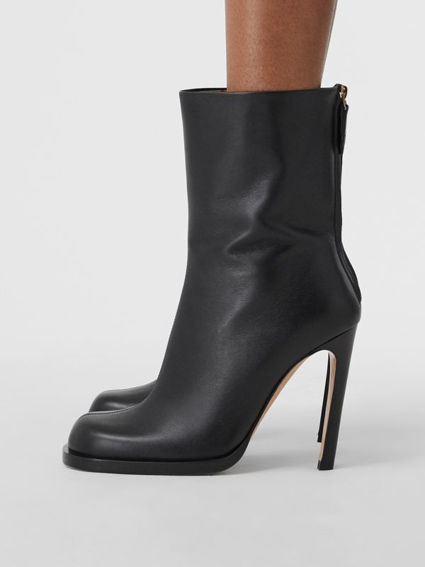 Vintage Check-lined Leather Ankle Boots in Black - Women | Burberry - cell image 2