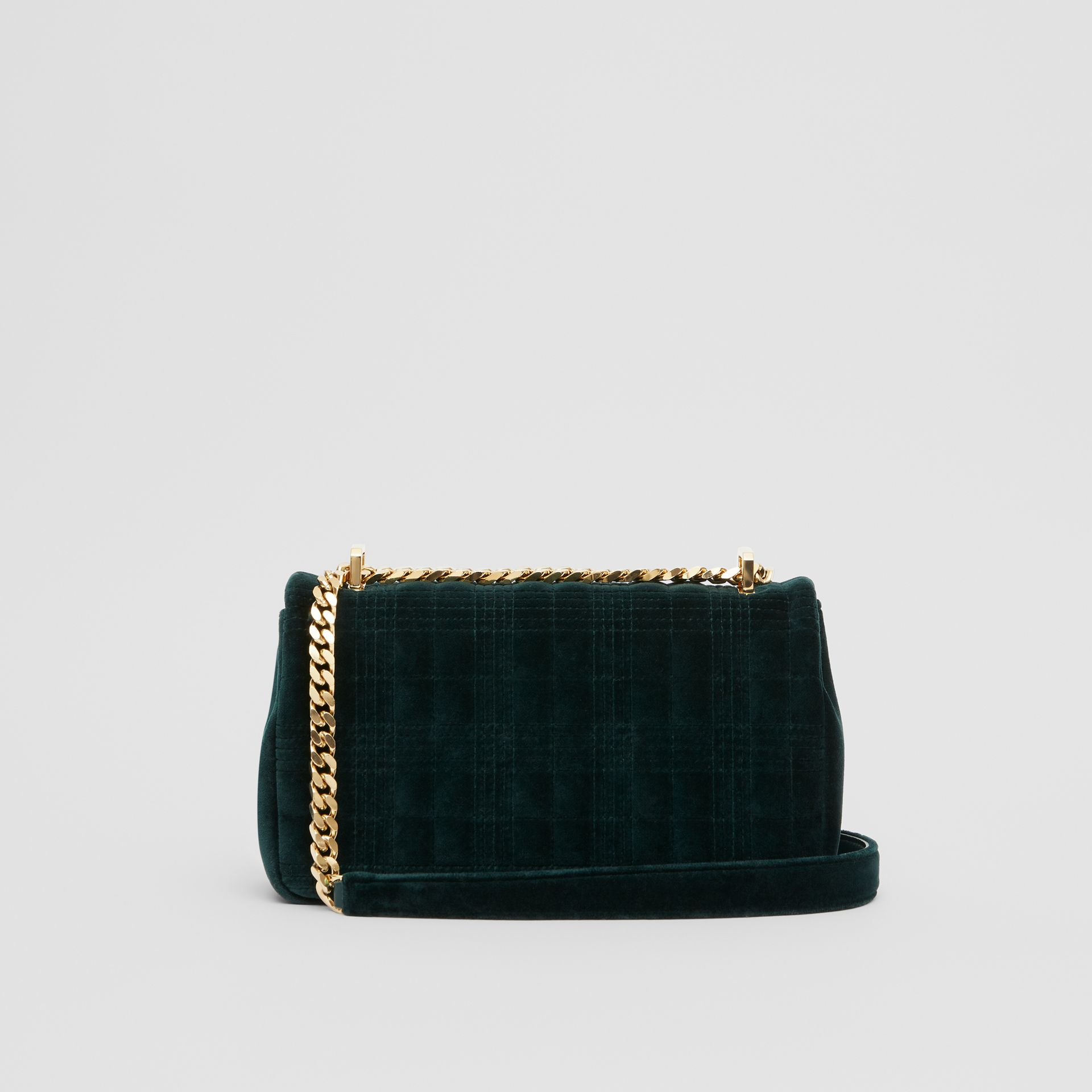 Small Quilted Velvet Lola Bag in Dark Green - Women | Burberry - gallery image 7