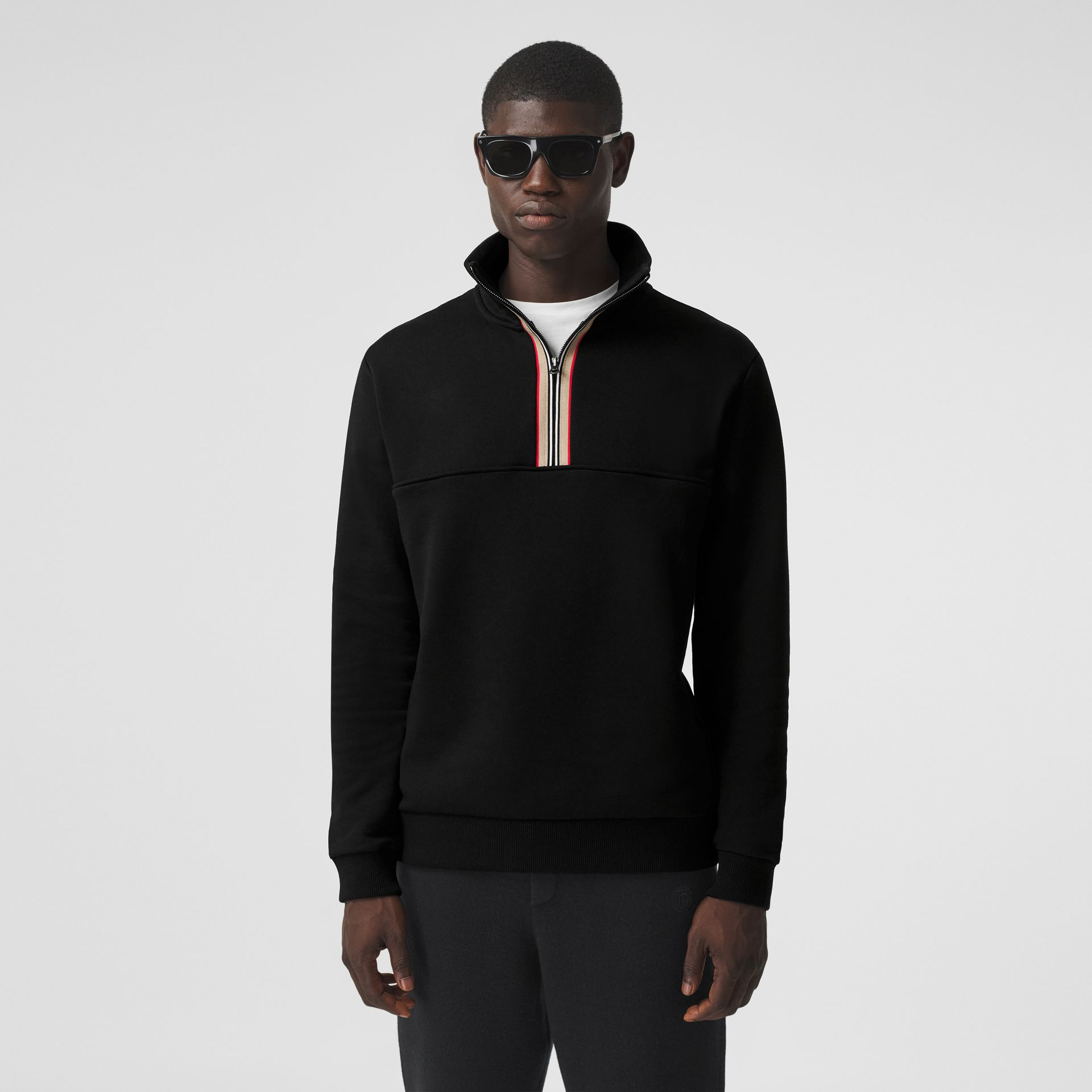 Icon Stripe Detail Cotton Funnel Neck Top in Black - Men | Burberry - gallery image 0