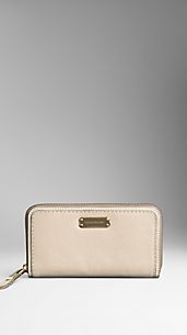 Metallic Grain Leather Ziparound Wallet