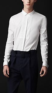Slim Fit Pleat Front Cotton Shirt