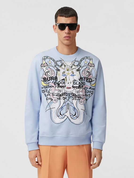 Montage Print Cotton Sweatshirt in Pale Blue