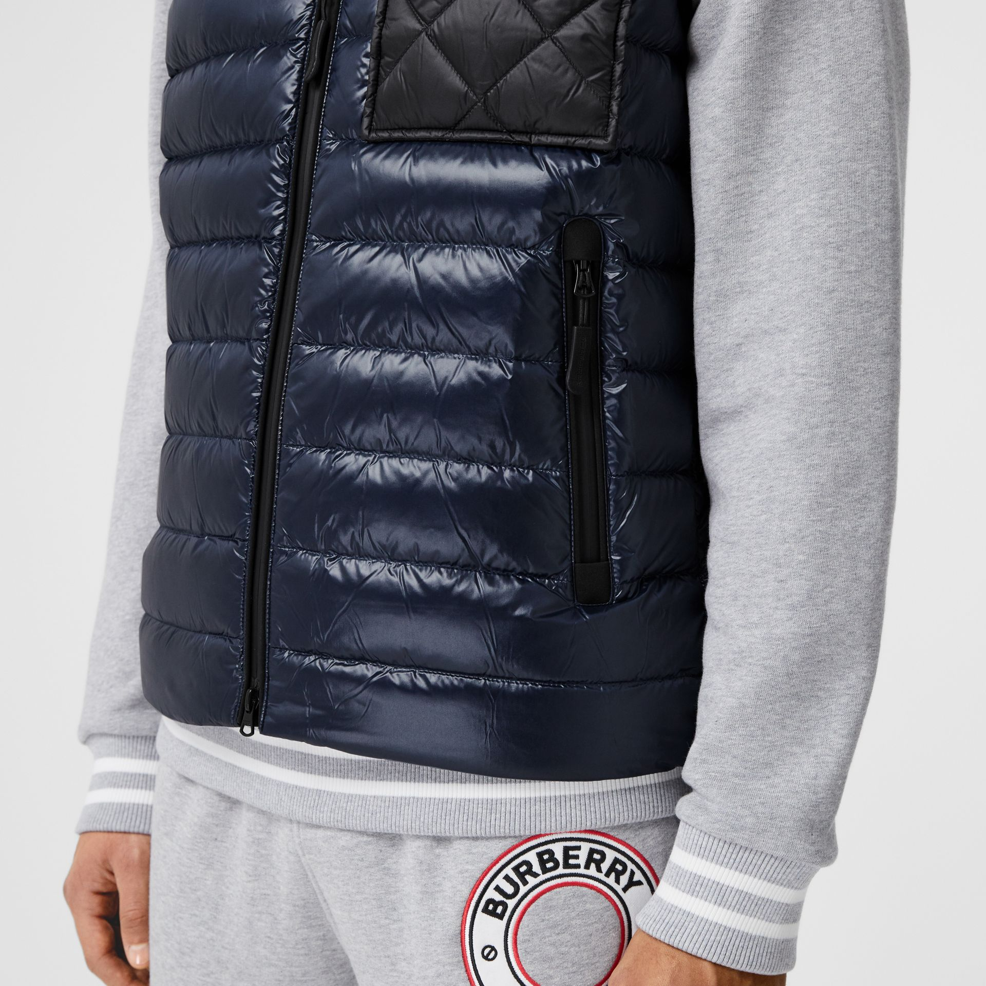 Diamond Quilted Panel Hooded Puffer Gilet in Midnight - Men | Burberry - gallery image 4