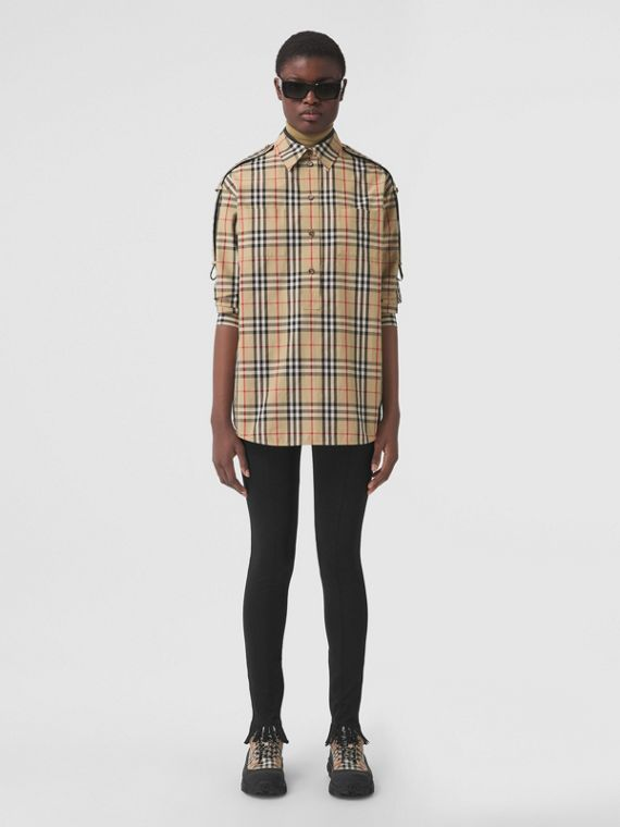 Oversize-Baumwollhemd mit Vintage Check-Muster und Riemen (Vintage-beige)