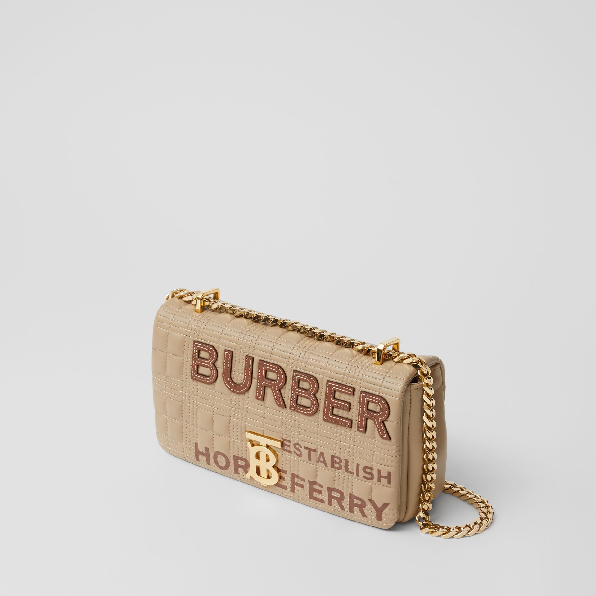 Small Quilted Horseferry Print Lambskin Lola Bag in Honey | Burberry - gallery image 3