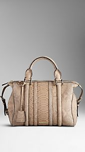 Medium Python Leather Bowling Bag